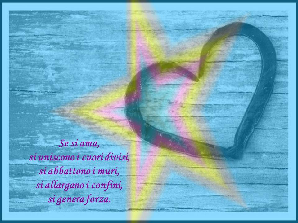 Se si ama, si uniscono i cuori divisi, si abbattono i muri, si allargano i confini, si genera forza.