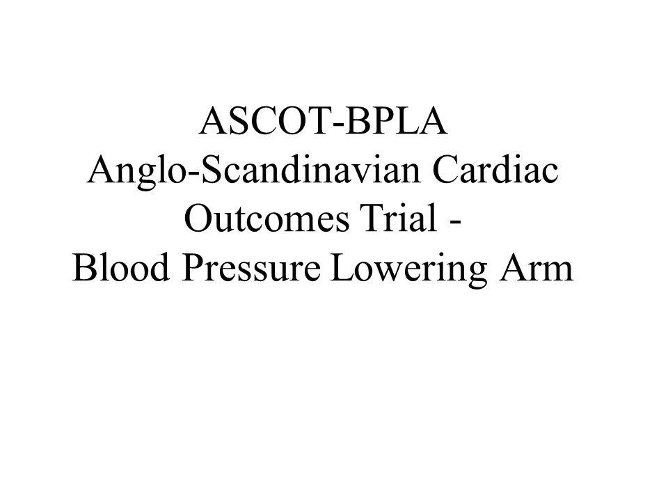 Ipotesi testata: Lamlodipina (eventualmente associata a perindopril) è più efficace dellatenololo (eventualmente associato a bendrofumethiazide-potassio) nel ridurre lincidenza di morti coronariche + infarti non fatali (outcome primario) Disegno: RCT in aperto, con mascheramento della rilevazione delloutcome Sample size: Si utilizza una potenza dell80% nel rilevare per loutcome primario (morti coronariche + infarti non fatali) un Hzard Ratio pari a 0,84 ( = 0,05) Casistica: 19.257 pazienti (9.639 amlopidina e 9.618 atenololo)