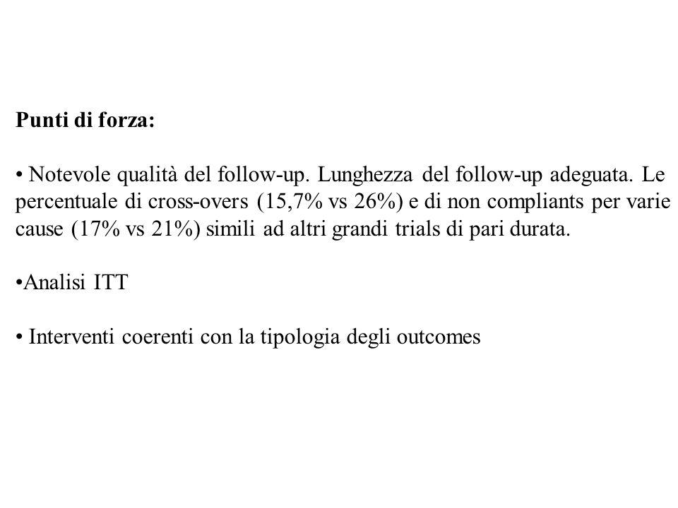 Punti di forza: Notevole qualità del follow-up. Lunghezza del follow-up adeguata. Le percentuale di cross-overs (15,7% vs 26%) e di non compliants per