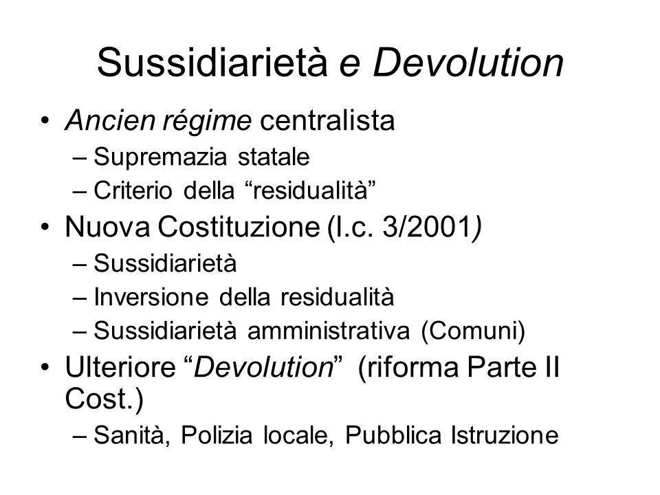 Sussidiarietà e Devolution Ancien régime centralista –Supremazia statale –Criterio della residualità Nuova Costituzione (l.c. 3/2001) –Sussidiarietà –