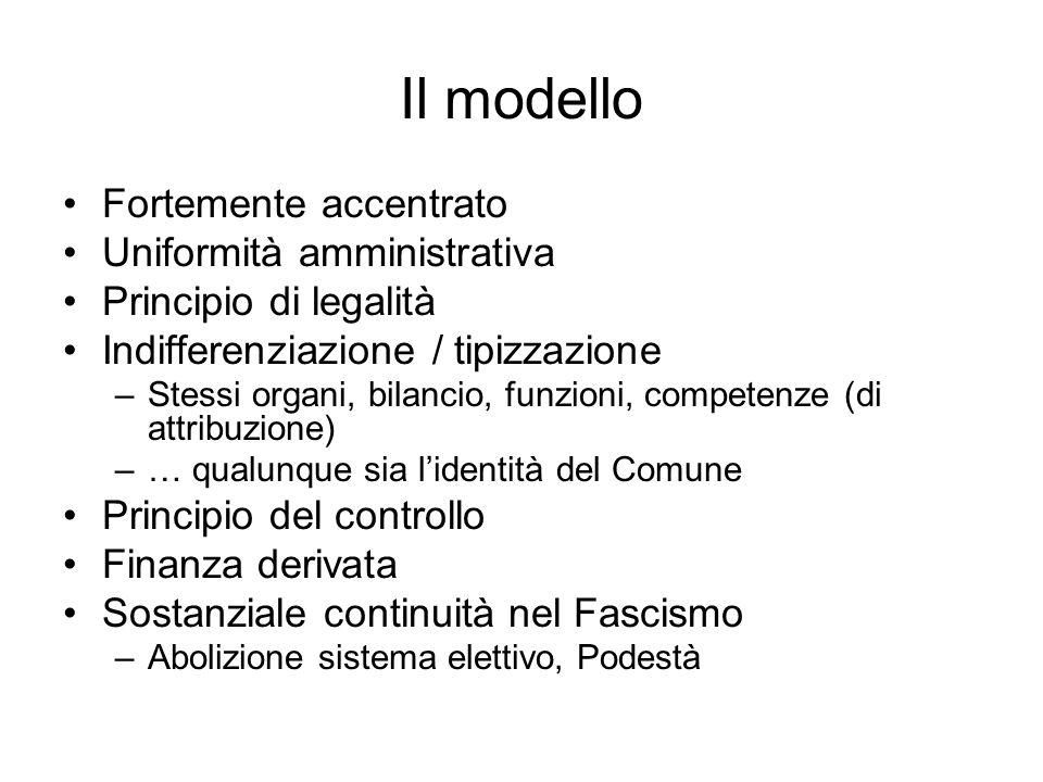 Il modello Fortemente accentrato Uniformità amministrativa Principio di legalità Indifferenziazione / tipizzazione –Stessi organi, bilancio, funzioni,