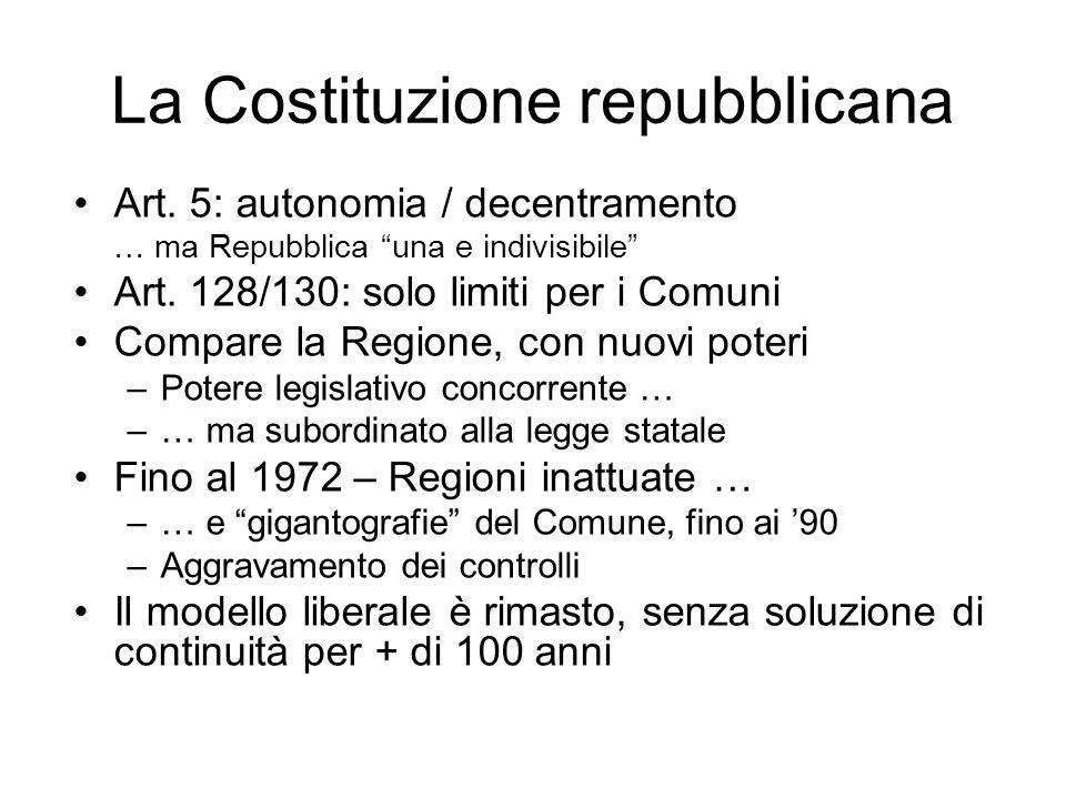 La Costituzione repubblicana Art. 5: autonomia / decentramento … ma Repubblica una e indivisibile Art. 128/130: solo limiti per i Comuni Compare la Re