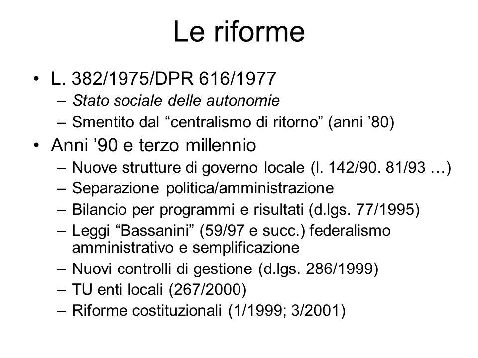 Le riforme L. 382/1975/DPR 616/1977 –Stato sociale delle autonomie –Smentito dal centralismo di ritorno (anni 80) Anni 90 e terzo millennio –Nuove str