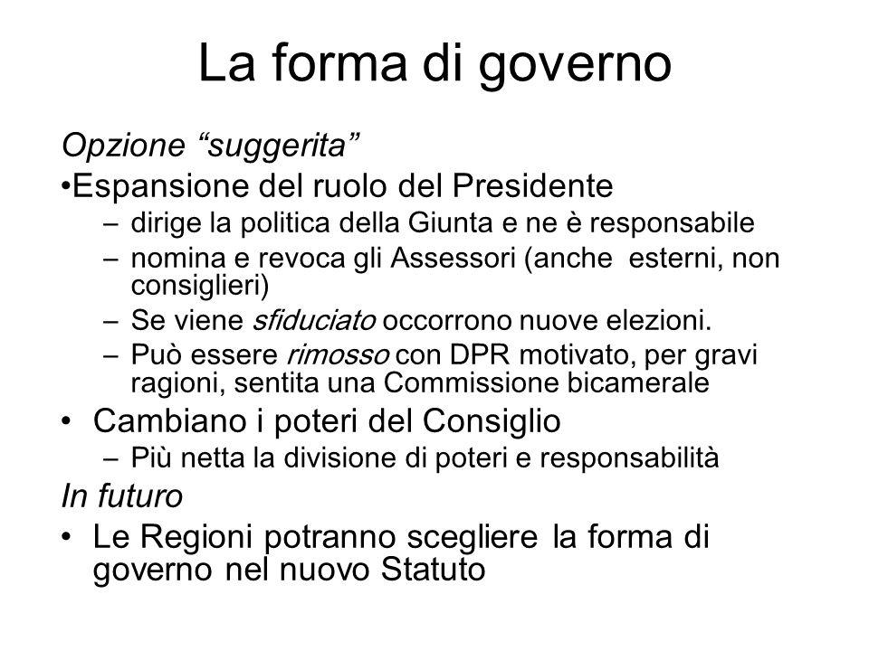 La forma di governo Opzione suggerita Espansione del ruolo del Presidente –dirige la politica della Giunta e ne è responsabile –nomina e revoca gli As