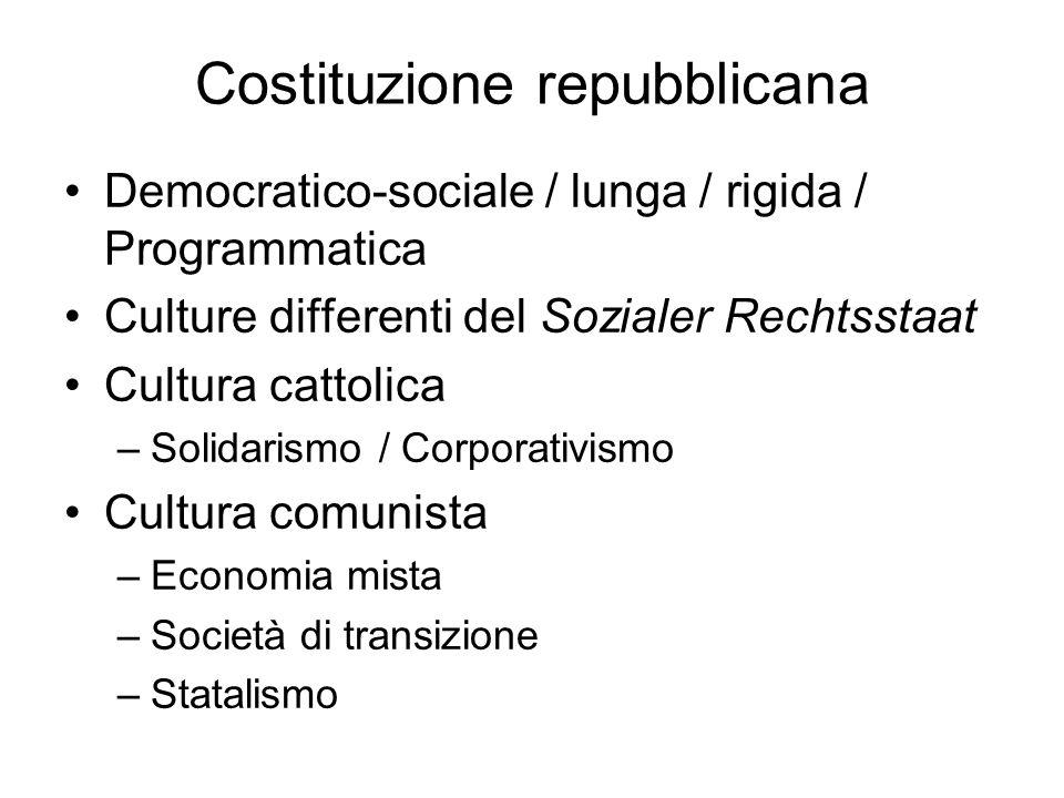 Costituzione repubblicana Democratico-sociale / lunga / rigida / Programmatica Culture differenti del Sozialer Rechtsstaat Cultura cattolica –Solidari