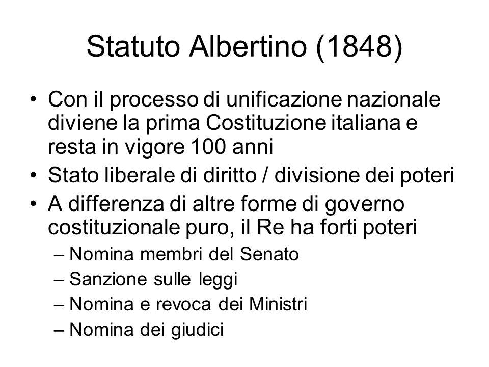 Statuto Albertino (1848) Con il processo di unificazione nazionale diviene la prima Costituzione italiana e resta in vigore 100 anni Stato liberale di
