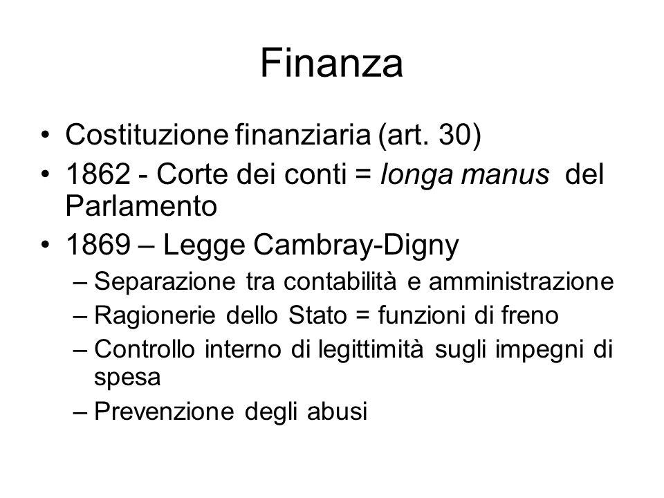 Finanza Costituzione finanziaria (art. 30) 1862 - Corte dei conti = longa manus del Parlamento 1869 – Legge Cambray-Digny –Separazione tra contabilità