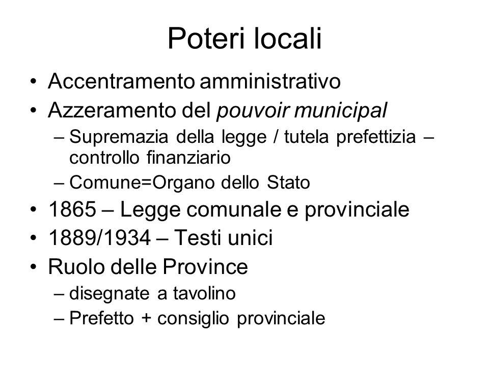 Poteri locali Accentramento amministrativo Azzeramento del pouvoir municipal –Supremazia della legge / tutela prefettizia – controllo finanziario –Com
