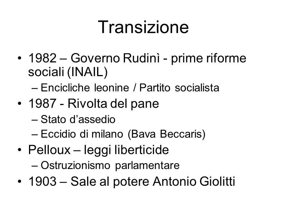 Transizione 1982 – Governo Rudinì - prime riforme sociali (INAIL) –Encicliche leonine / Partito socialista 1987 - Rivolta del pane –Stato dassedio –Ec