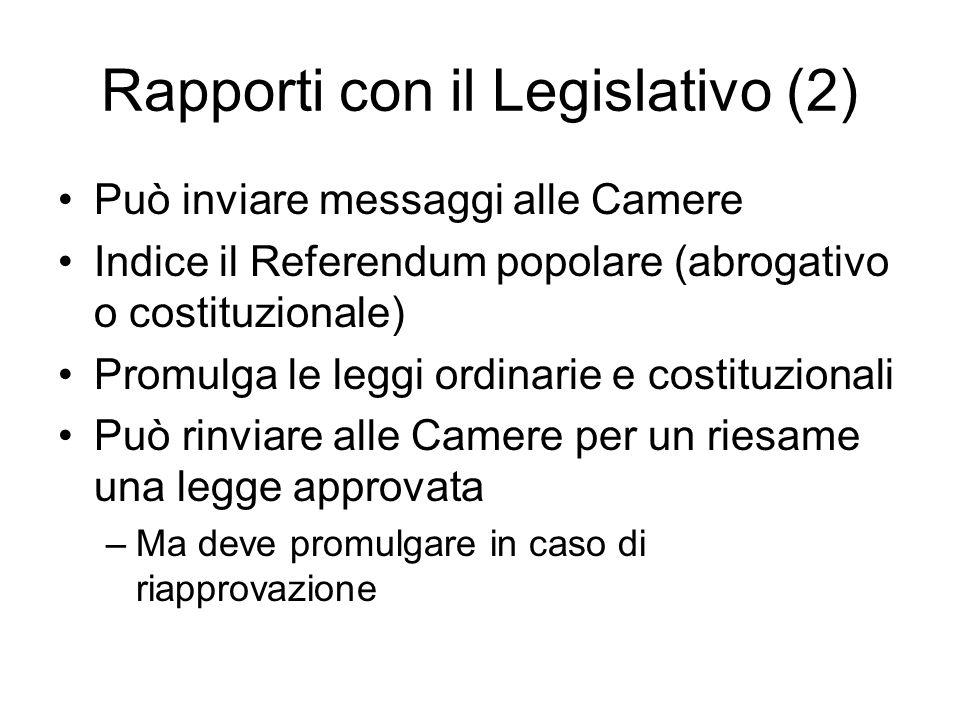 Rapporti con il Legislativo (2) Può inviare messaggi alle Camere Indice il Referendum popolare (abrogativo o costituzionale) Promulga le leggi ordinar