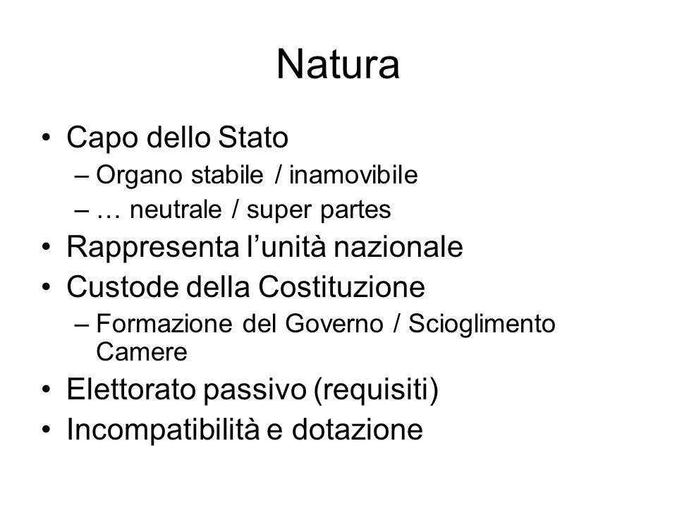 Natura Capo dello Stato –Organo stabile / inamovibile –… neutrale / super partes Rappresenta lunità nazionale Custode della Costituzione –Formazione d