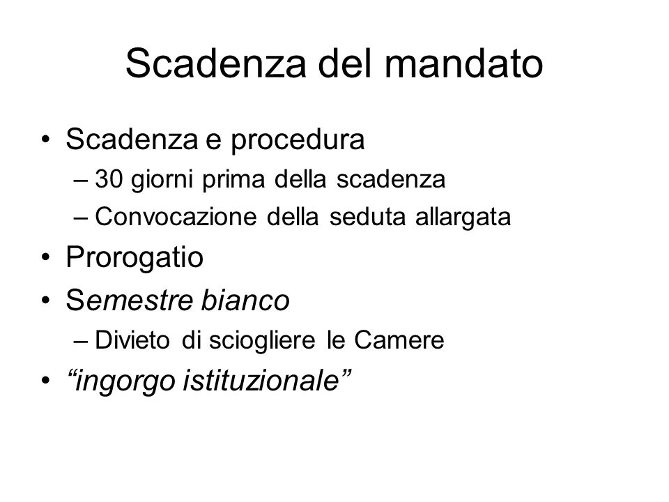 Continuità Natura monocratica / necessità di misure Impedimenti / Supplenza –Presidente del Senato (art.