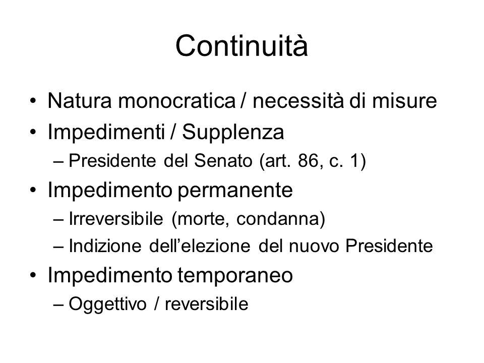 Continuità Natura monocratica / necessità di misure Impedimenti / Supplenza –Presidente del Senato (art. 86, c. 1) Impedimento permanente –Irreversibi