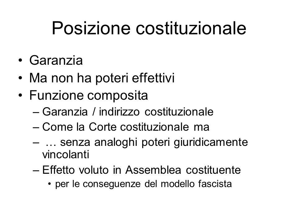 Posizione costituzionale Garanzia Ma non ha poteri effettivi Funzione composita –Garanzia / indirizzo costituzionale –Come la Corte costituzionale ma