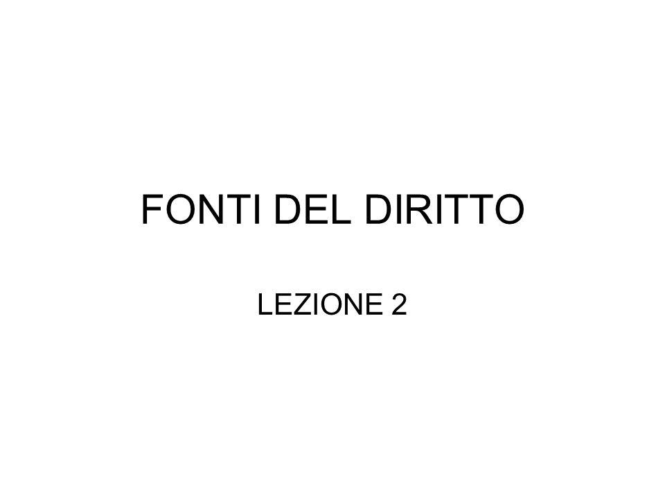 FONTI DEL DIRITTO LEZIONE 2