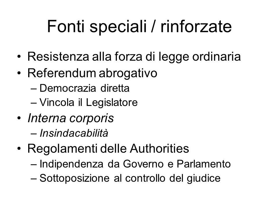 Fonti speciali / rinforzate Resistenza alla forza di legge ordinaria Referendum abrogativo –Democrazia diretta –Vincola il Legislatore Interna corpori