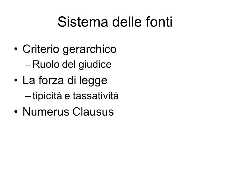 Sistema delle fonti Criterio gerarchico –Ruolo del giudice La forza di legge –tipicità e tassatività Numerus Clausus
