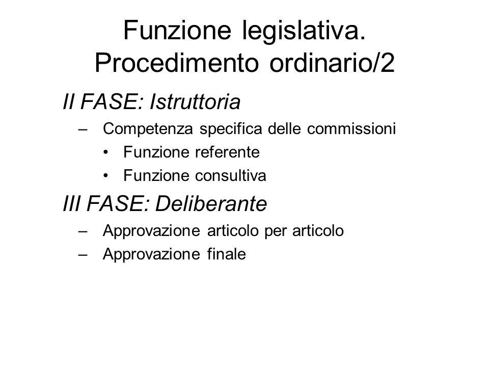 Funzione legislativa. Procedimento ordinario/2 II FASE: Istruttoria –Competenza specifica delle commissioni Funzione referente Funzione consultiva III