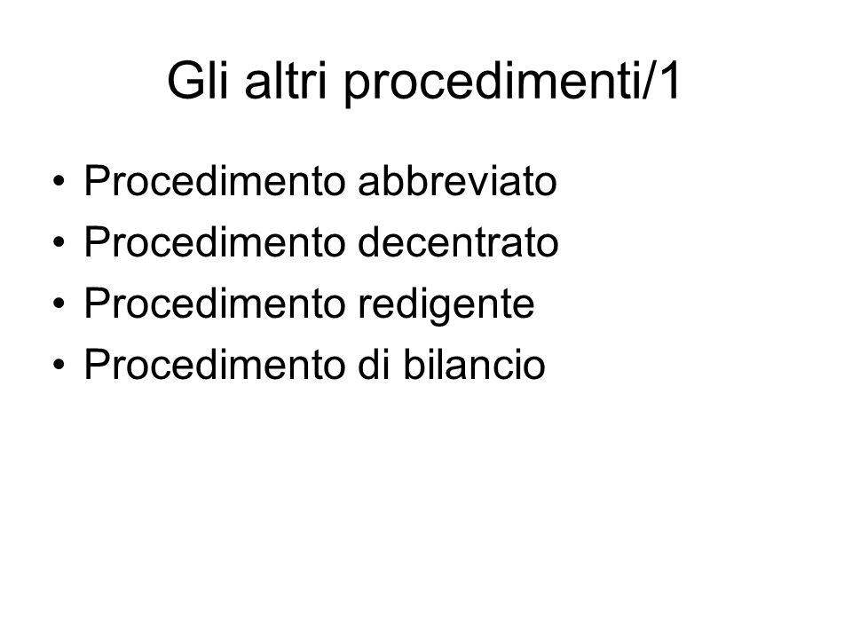 Gli altri procedimenti/1 Procedimento abbreviato Procedimento decentrato Procedimento redigente Procedimento di bilancio