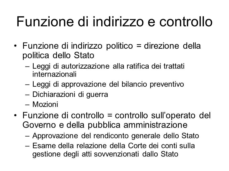 Funzione di indirizzo e controllo Funzione di indirizzo politico = direzione della politica dello Stato –Leggi di autorizzazione alla ratifica dei tra