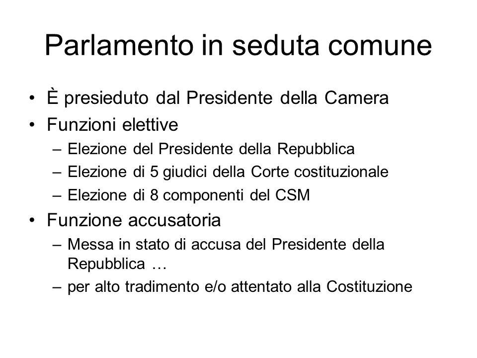 Parlamento in seduta comune È presieduto dal Presidente della Camera Funzioni elettive –Elezione del Presidente della Repubblica –Elezione di 5 giudic