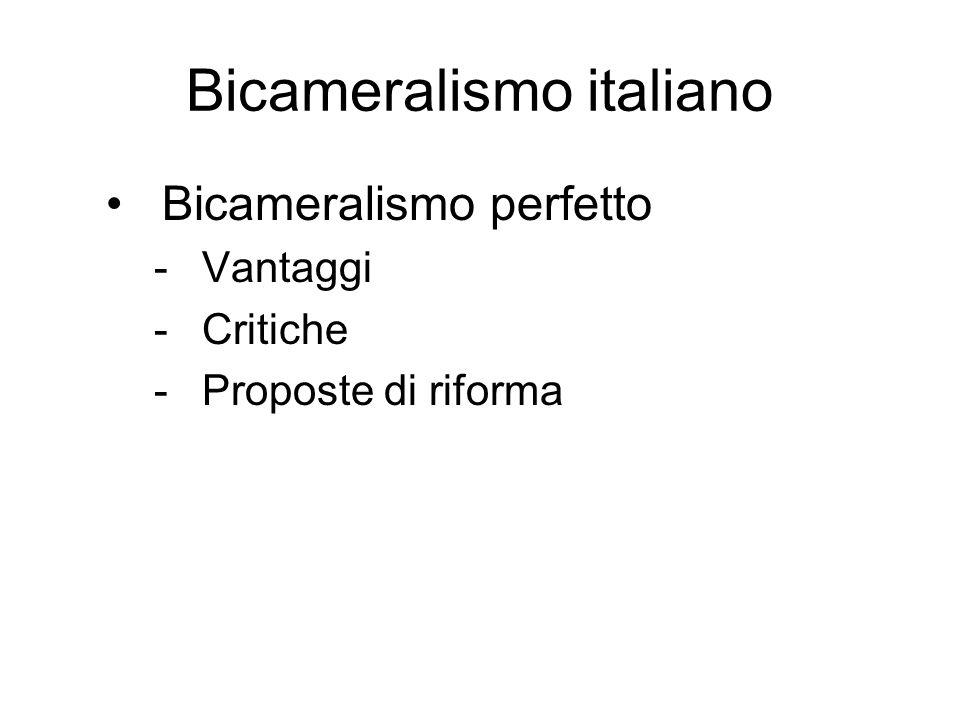 Bicameralismo italiano Bicameralismo perfetto -Vantaggi -Critiche -Proposte di riforma