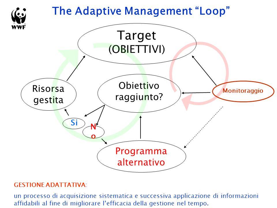 The Adaptive Management Loop Risorsa gestita Target (OBIETTIVI) Monitoraggio Obiettivo raggiunto.