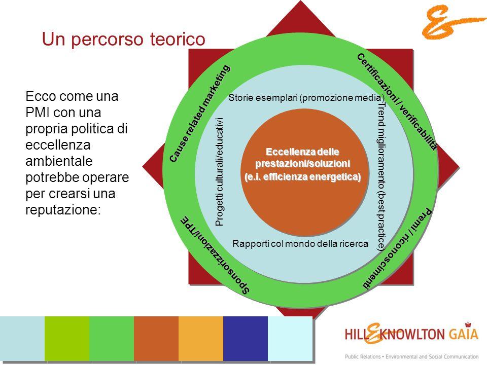 Un percorso teorico Ecco come una PMI con una propria politica di eccellenza ambientale potrebbe operare per crearsi una reputazione: Eccellenza delle prestazioni/soluzioni (e.i.