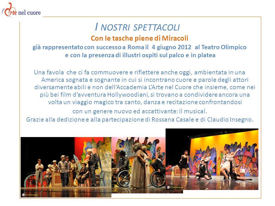 Con le tasche piene di Miracoli già rappresentato con successo a Roma il 4 giugno 2012 al Teatro Olimpico e con la presenza di illustri ospiti sul pal