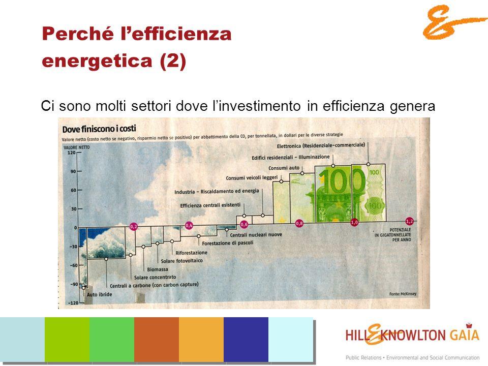 Perché lefficienza energetica (2) Ci sono molti settori dove linvestimento in efficienza genera reddito