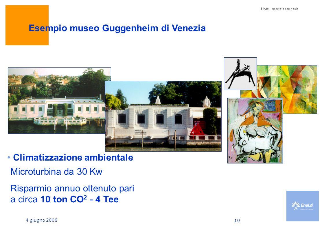 4 giugno 2008 Uso: riservato aziendale 10 Esempio museo Guggenheim di Venezia Microturbina da 30 Kw Risparmio annuo ottenuto pari a circa 10 ton CO 2 - 4 Tee Climatizzazione ambientale