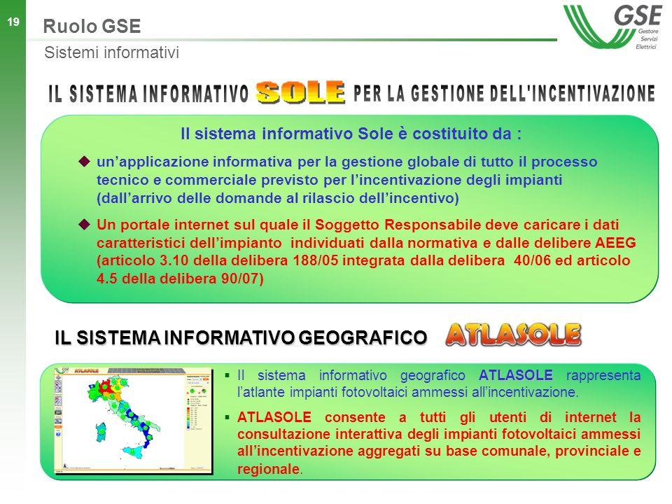 19 Il sistema informativo Sole è costituito da : unapplicazione informativa per la gestione globale di tutto il processo tecnico e commerciale previsto per lincentivazione degli impianti (dallarrivo delle domande al rilascio dellincentivo) Un portale internet sul quale il Soggetto Responsabile deve caricare i dati caratteristici dellimpianto individuati dalla normativa e dalle delibere AEEG (articolo 3.10 della delibera 188/05 integrata dalla delibera 40/06 ed articolo 4.5 della delibera 90/07) ATLASOLE Il sistema informativo geografico ATLASOLE rappresenta latlante impianti fotovoltaici ammessi allincentivazione.