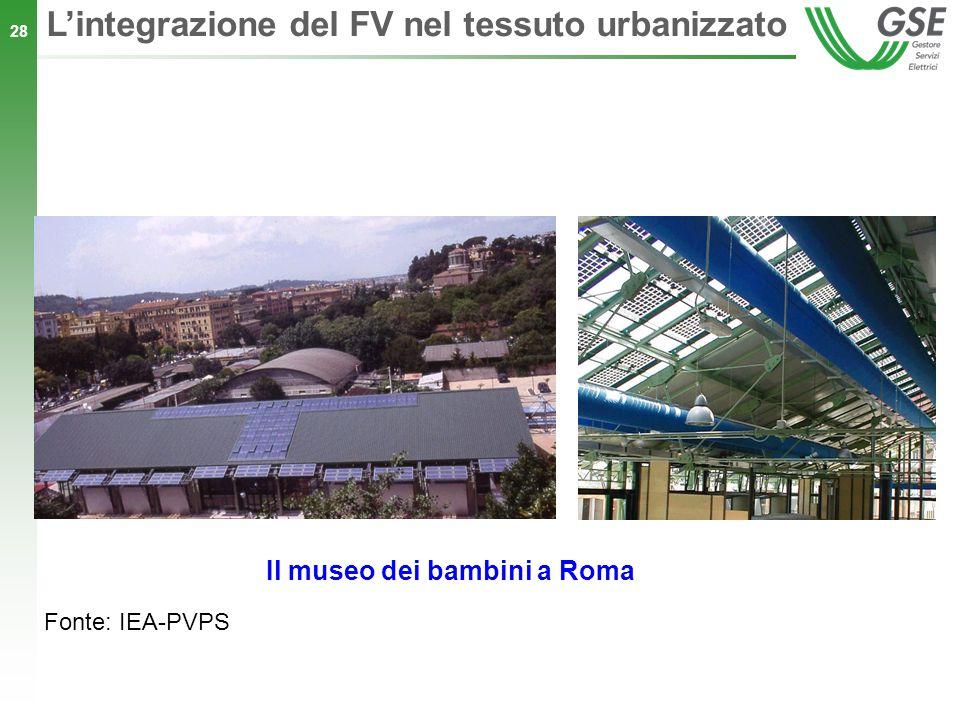 28 Lintegrazione del FV nel tessuto urbanizzato Il museo dei bambini a Roma Fonte: IEA-PVPS