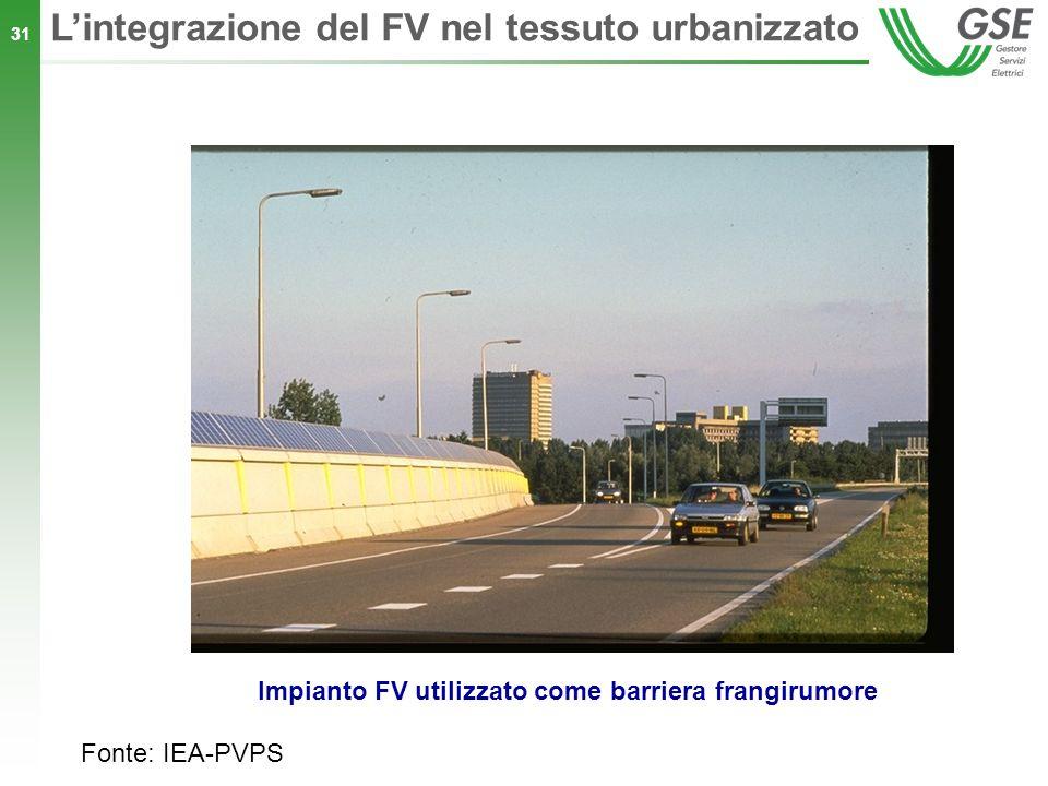 31 Impianto FV utilizzato come barriera frangirumore Lintegrazione del FV nel tessuto urbanizzato Fonte: IEA-PVPS