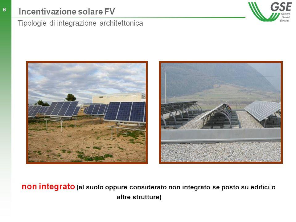 6 non integrato (al suolo oppure considerato non integrato se posto su edifici o altre strutture) Incentivazione solare FV Tipologie di integrazione architettonica