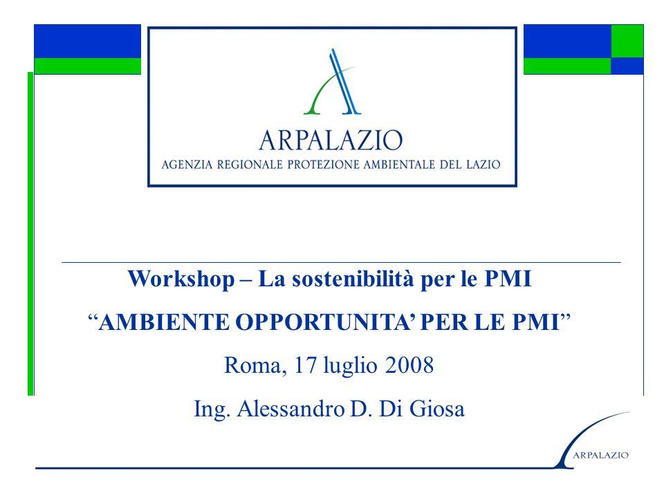 Workshop – La sostenibilità per le PMI AMBIENTE OPPORTUNITA PER LE PMI Roma, 17 luglio 2008 Ing.