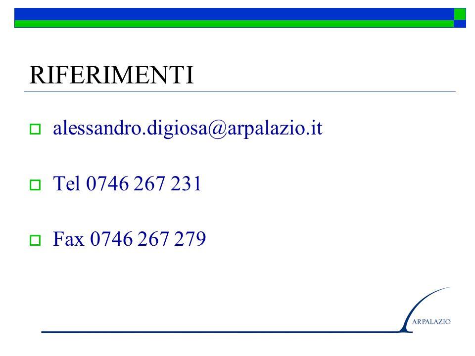 RIFERIMENTI alessandro.digiosa@arpalazio.it Tel 0746 267 231 Fax 0746 267 279