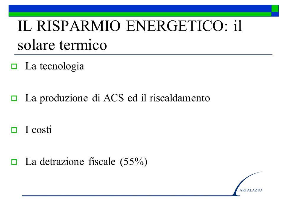 IL RISPARMIO ENERGETICO: il solare termico La tecnologia La produzione di ACS ed il riscaldamento I costi La detrazione fiscale (55%)