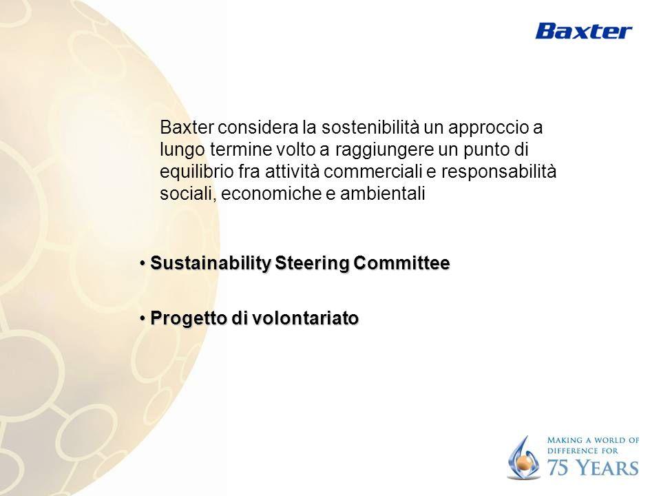 Baxter considera la sostenibilità un approccio a lungo termine volto a raggiungere un punto di equilibrio fra attività commerciali e responsabilità sociali, economiche e ambientali Sustainability Steering Committee Sustainability Steering Committee Progetto di volontariato Progetto di volontariato
