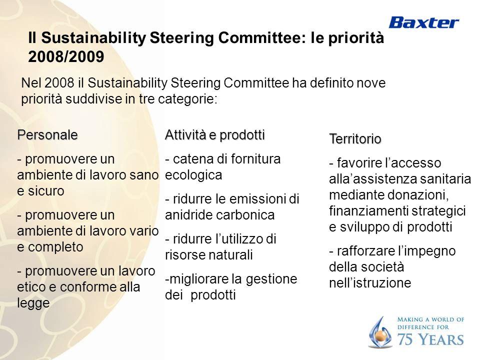 Il Sustainability Steering Committee: le priorità 2008/2009 Nel 2008 il Sustainability Steering Committee ha definito nove priorità suddivise in tre c