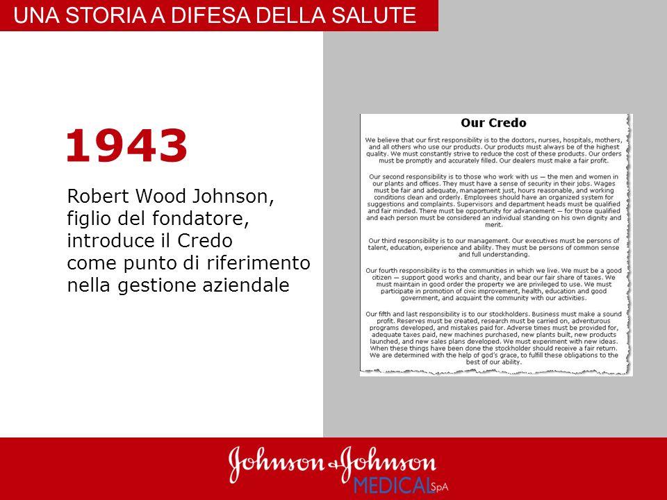 1943 Robert Wood Johnson, figlio del fondatore, introduce il Credo come punto di riferimento nella gestione aziendale UNA STORIA A DIFESA DELLA SALUTE