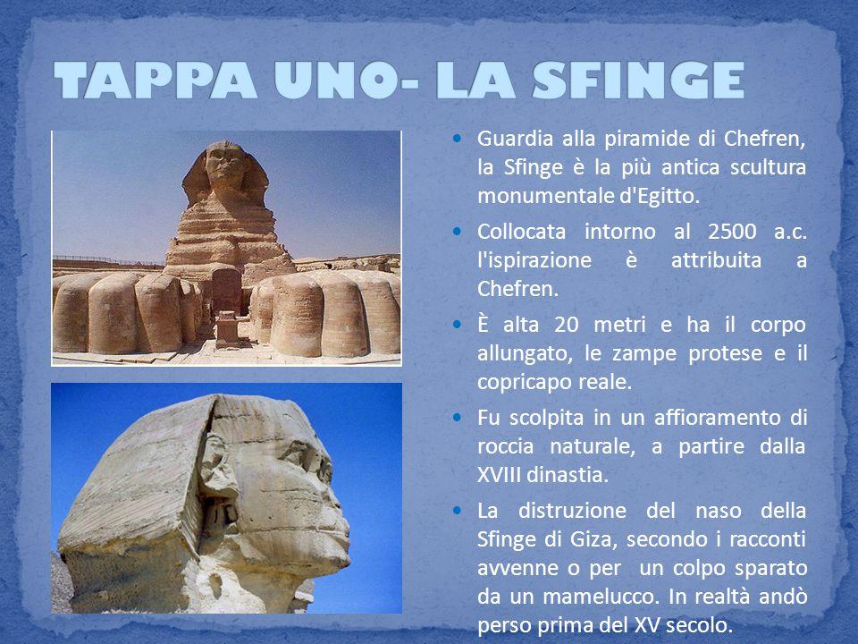 Guardia alla piramide di Chefren, la Sfinge è la più antica scultura monumentale d'Egitto. Collocata intorno al 2500 a.c. l'ispirazione è attribuita a