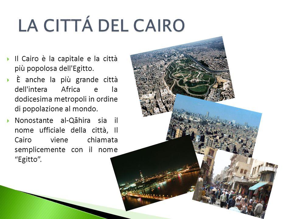 Il Cairo è la capitale e la città più popolosa dell'Egitto. È anche la più grande città dell'intera Africa e la dodicesima metropoli in ordine di popo