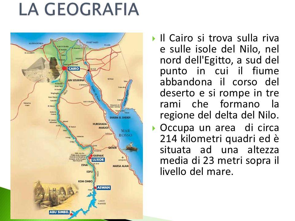 Il Cairo si trova sulla riva e sulle isole del Nilo, nel nord dell'Egitto, a sud del punto in cui il fiume abbandona il corso del deserto e si rompe i