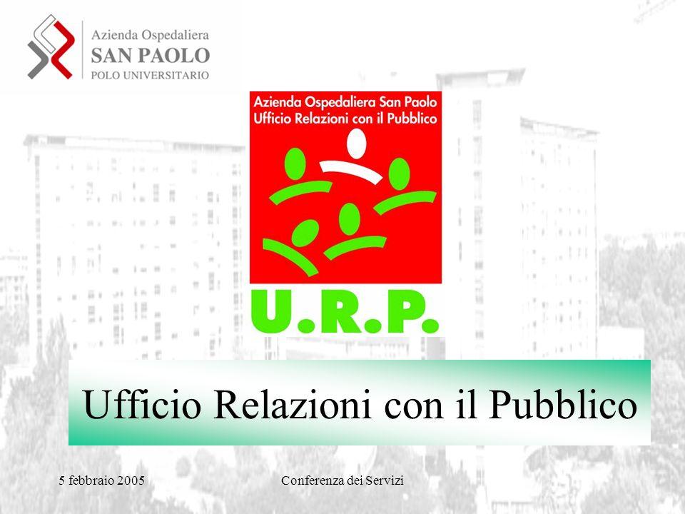 5 febbraio 2005Conferenza dei Servizi Ufficio Relazioni con il Pubblico