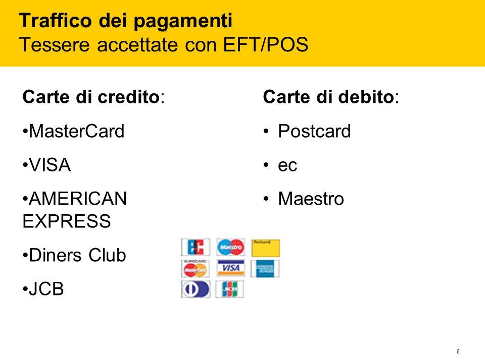 8 Traffico dei pagamenti Tessere accettate con EFT/POS Carte di credito: MasterCard VISA AMERICAN EXPRESS Diners Club JCB Carte di debito: Postcard ec