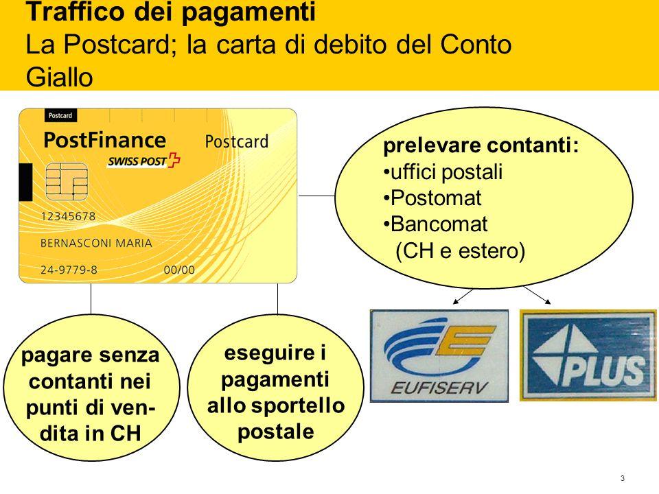 3 Traffico dei pagamenti La Postcard; la carta di debito del Conto Giallo prelevare contanti: uffici postali Postomat Bancomat (CH e estero) pagare se