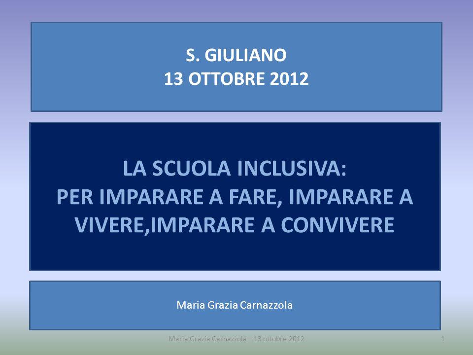 Maria Grazia Carnazzola – 13 ottobre 20121 S. GIULIANO 13 OTTOBRE 2012 LA SCUOLA INCLUSIVA: PER IMPARARE A FARE, IMPARARE A VIVERE,IMPARARE A CONVIVER