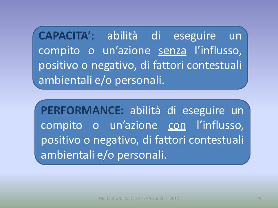 CAPACITA: abilità di eseguire un compito o unazione senza linflusso, positivo o negativo, di fattori contestuali ambientali e/o personali. PERFORMANCE