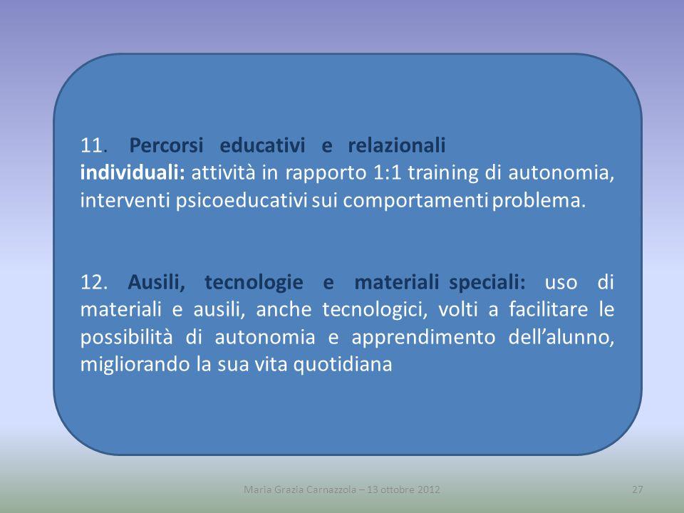 11. Percorsi educativi e relazionali individuali: attività in rapporto 1:1 training di autonomia, interventi psicoeducativi sui comportamenti problema